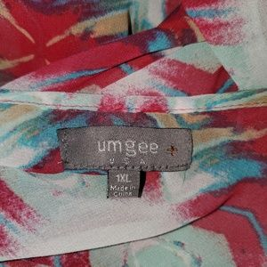 Umgee Tops - Umgee 1X Sheer Southwest Print Open Back Top